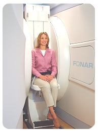 Woman patient in the Fonar Upright MRI
